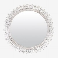 "35"" Round Whitewashed Short Vines Wall Mirror"