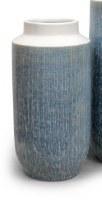 "11"" Blue With White Top Ceramic Vase"