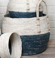 """11"""" Blue and White Rope Basket With Handles"""
