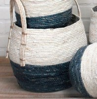 """9"""" Blue and White Rope Basket With Handles"""