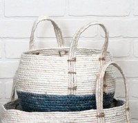 """8"""" Blue and White Rope Basket With Handles"""