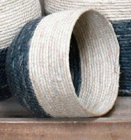 """7"""" Blue and White Rope Basket"""