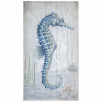 "36"" x 20"" Blue and Gray Seahorse I Slats Wall Plaque"