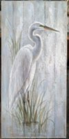 "46"" x 22"" White Heron in Grass Slats Wall Plaque"