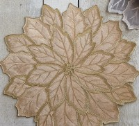 "16"" Round Gold Embroidered Velvet Poinsettia Placemat"