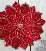 """16"""" Round Red Embroidered Velvet Poinsettia Placemat"""