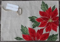 "13"" x 19"" Red Poinsettia Embroidered Linen Placemat"