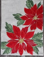 "13"" x 70"" Red Poinsettia Embroidered Linen Table Runner"