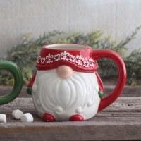 """6"""" Red Ceramic Gnome Christmas Mug"""