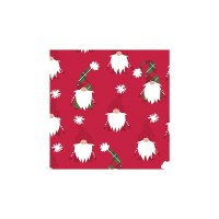 """5"""" Square Red White and Green Gnomes Beverage Napkins"""