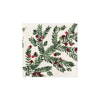 """5"""" Square Red and Green Holly Berries Beverage Napkins"""