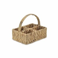 """10"""" Water Hyacinth Four Compartment Basket With Handle"""