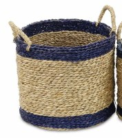 """12"""" Round Natural Seagrass Basket With Navy Trim and Handles"""