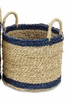 """10"""" Round Natural Seagrass Basket With Navy Trim and Handles"""