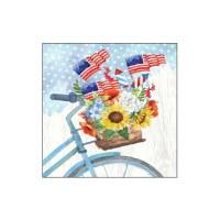 "5"" Square American Flag Bike Basket Beverage Napkin"