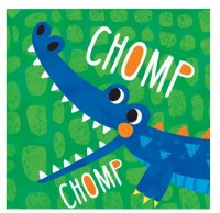 "5"" Square Blue Gator Chomp Beverage Napkins"