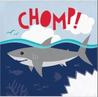 "5"" Square Gray Shark Chomp Beverage Napkins"
