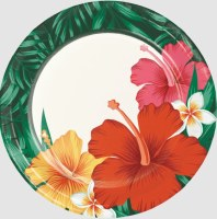 """Pack of 8 7"""" Round Tropical Flowers Paper Plates"""