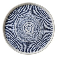 "8"" Round Blue Tribal Melamine Salad Plate"