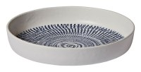 "8"" Round Tribal Blue Melamine Low Bowl"