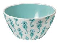 "6"" Round Turquoise Seahorse Melamine Bowl"