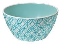 "6"" Round Turquoise Trellis Melamine Bowl"