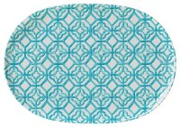 "12"" x 17"" Oval Turquoise Trellis Melamine Serving Tray"