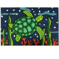 "16"" x 24"" Green, Navy and Red Sea Turtle Coir Fiber Doormat"