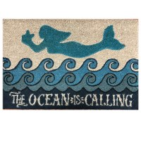 "16"" x 24"" Blue Mermaid Ocean Calling Coir Fiber Doormat"