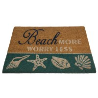 "16"" x 24"" Teal Beach More Shells Coir Fiber Doormat"