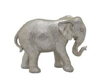 "9"" Silver Polyresin Elephant Figurine"