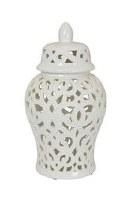 "14"" White Ceramic Openwork Jar and Lid"