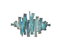 """24"""" x 36"""" Blue and Aqua Metal Bars Wall Plaque"""