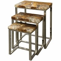 """Set of 3 17"""" Natural Teak Wood and Shell Nesting Tables"""