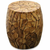 "16"" Round Mosaic Wood Drum Table"
