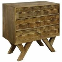 """28"""" Honey Stained Mango Wood Three Drawer Chest"""