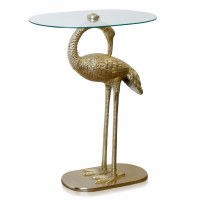 """29"""" Gold Crane Table With Glass Top"""