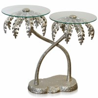 """28"""" Silver Metal Entwined Palms Table With Glass Tops"""