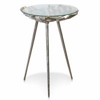 "17"" Round Silver Metal Openwork Three Legged Table"