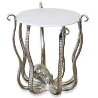 "22"" Round Silver Octopus Table With Marble Top"