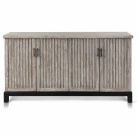 """66"""" Gray Wood Ribbed Four Door Cabinet"""
