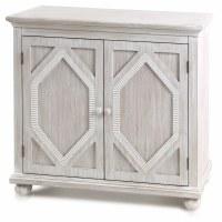 "36"" Whitewashed Wood Diamond Pattern Two Door Cabinet"