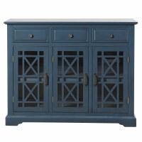 """42"""" Dark Blue Wood Three Drawer Three Door Credenza"""