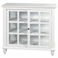 """34"""" White Wood Sliding Door Cabinet With Paned Glass"""