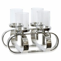 """12"""" Square Silver Metal Criss Cross Candle Holder With Glass Hurricanes"""