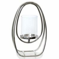 "13"" Oval Silver Metal Loop Hurricane Candle Holder"