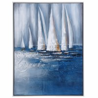 "33"" x 25"" Dark Blue and White Sailboats Oil Painting Canvas With White Frame"