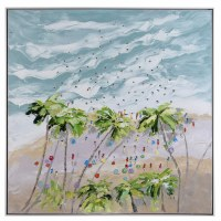 "40"" Square Overhead Palm Beach Oil Painting Canvas With White Frame"