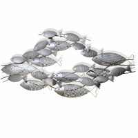 """47"""" Silver School of Fish Punched Metal Wall Plaque"""
