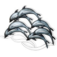 """31"""" Blue and Silver Dolphin School Metal Wall Plaque"""